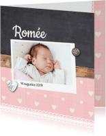 Geboortekaartjes - Geboortekaartje-houtkrijt-romée