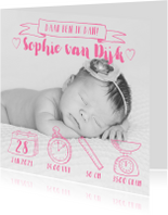 Geboortekaartjes - Geboortekaartje handlettering icoontjes foto roze