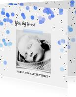 Geboortekaartjes - Geboortekaartje jongen confetti stipjes