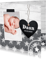 Geboortekaartjes - Geboortekaartje jongen foto hartje sterren