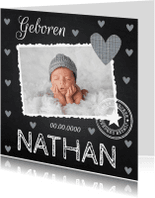 Geboortekaartjes - Geboortekaartje jongen foto hartjes krijtbord