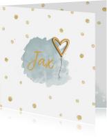 Geboortekaartjes - Geboortekaartje jongen goudfolie ballon