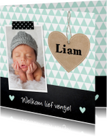 Geboortekaartjes - Geboortekaartje jongen hartje krijtbord