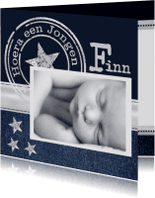 Geboortekaartjes - Geboortekaartje Jongen Jeans  Stamp