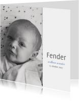 Geboortekaartjes - Geboortekaartje jongen lief met blauw hartje en foto