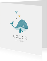 Geboortekaartjes - Geboortekaartje jongen lief met walvisje