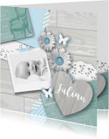 Geboortekaartjes - Geboortekaartje foto hart bloemen jongen