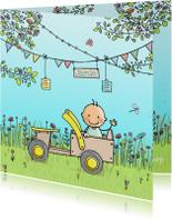 Geboortekaartjes - Geboortekaartje jongen met houten kar