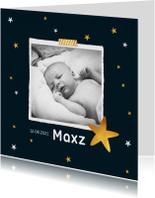 Geboortekaartjes - Geboortekaartje jongen met sterren en eigen foto