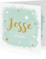 Geboortekaartjes - Geboortekaartje jongen mint watercolour hartjes