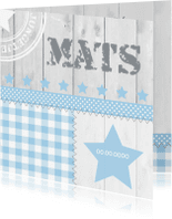 Geboortekaartjes - Geboortekaartje jongen ster ruitjes hout
