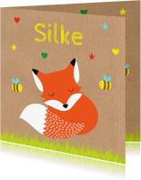 Geboortekaartjes - Geboortekaartje jongen vos kraft