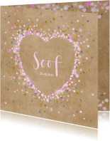 Geboortekaartjes - Geboortekaartje kraft hart bloemetjes sterretjes en hartjes