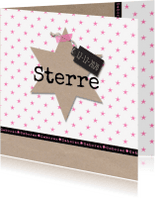 Geboortekaartjes - Geboortekaartje kraft ster roze