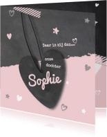 Geboortekaartjes - Geboortekaartje krijtbord roze- LOVZ