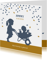 Geboortekaartjes - Geboortekaartje kruiwagen zusje