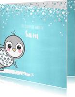 Geboortekaartjes - Geboortekaartje lief blauw kaartje met een pinguïn