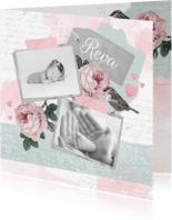 Geboortekaartjes - Geboortekaartje lief foto's, rozen en vogeltje