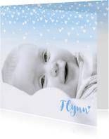 Geboortekaartje lief hartjes aquarel foto lichtblauw