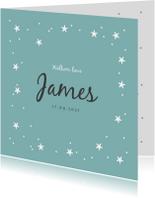 Geboortekaartjes - Geboortekaartje lief jongen met sterretjes en confetti