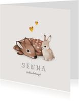Geboortekaartje lief met konijn en hert voor broertje/zusje