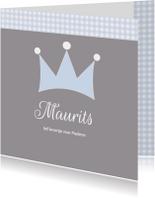 Geboortekaartje Maurits kroon LW
