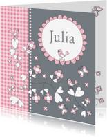 Geboortekaartjes - Geboortekaartje meisje bloemen LB