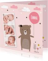 Geboortekaartjes - Geboortekaartje meisje foto beertje LB
