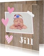Geboortekaartjes - Geboortekaartje meisje foto hartjes hout
