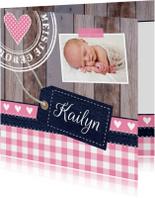 Geboortekaartjes - Geboortekaartje meisje foto hout label