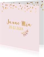 Geboortekaartjes - Geboortekaartje meisje goud takje confetti