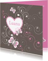 Geboortekaartjes - Geboortekaartje meisje hart vlinders LB