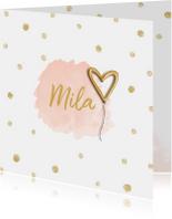 Geboortekaartjes - Geboortekaartje meisje hartje goudfolie ballon