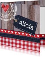 Geboortekaartjes - Geboortekaartje meisje hartjes label hout