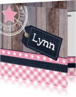 Geboortekaartjes - Geboortekaartje meisje label hout