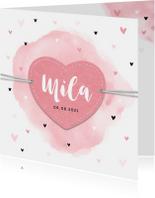 Geboortekaartjes - Geboortekaartje meisje lief met harten label en waterverf