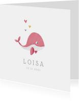 Geboortekaartjes - Geboortekaartje meisje lief met walvisje
