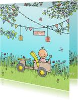 Geboortekaartjes - Geboortekaartje meisje met houten kar