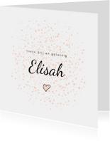 Geboortekaartjes - Geboortekaartje meisje met roze dots en hartje