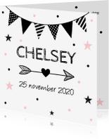 Geboortekaartjes - Geboortekaartje meisje slinger confetti