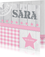 Geboortekaartjes - Geboortekaartje meisje ster hout ruitjes