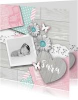 Geboortekaartjes - Geboortekaartje foto hart bloemen meisje