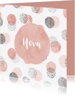 Geboortekaartjes - Geboortekaartje met cirkel patroon meisje vierkant