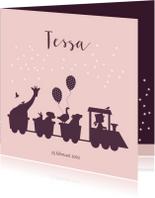 Geboortekaartjes - Geboortekaartje met dieren en treintje