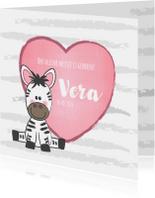 Geboortekaartjes - Geboortekaartje met een hartje en een zebra