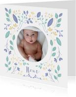 Geboortekaartjes - Geboortekaartje met geïllustreerde bloemen jongen