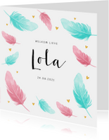 Geboortekaartjes - Geboortekaartje met geschilderde veertjes en gouden hartjes