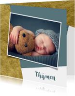 Geboortekaartjes - Geboortekaartje met goud achtergrondkleur te veranderen