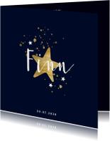 Geboortekaartje met gouden spetters en sterren