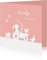 Geboortekaartjes - Geboortekaartje met meisje op trekker en boerderijdieren